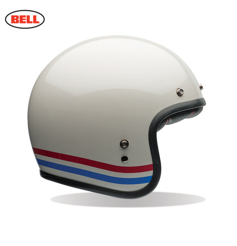 Bell Custom 500 stripes pearl white motorcycle helmet