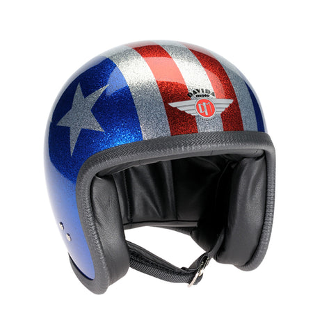Davida Speedster V3 - Cosmic Flake Blue Red 3 Star motorcycle helmet
