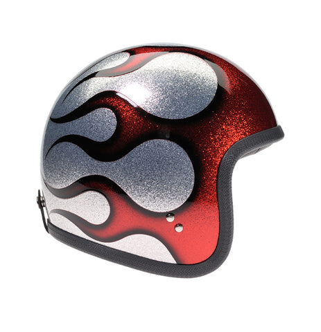 Davida Speedster V3 - Cosmic Flake Silver Red Flames motorcycle helmet
