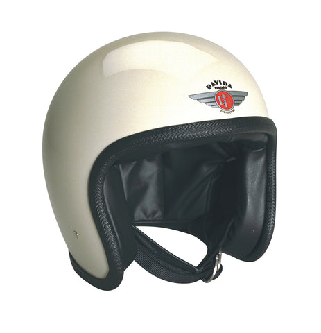 Davida Speedster V3 - cream Black leather motorcycle helmet