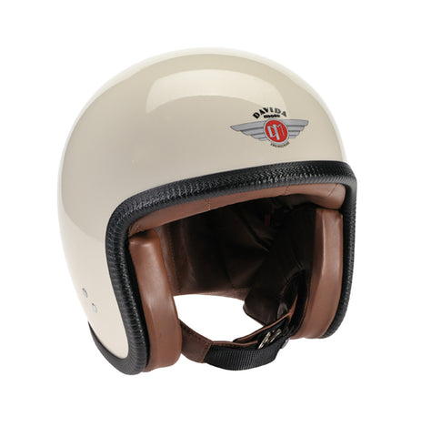 Davida Speedster V3 - Cream ZNut Brown Leather motorcycle helmet