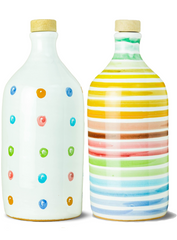 Frantoio Muraglia | Collectible Handmade Ceramic Bottle | POLKA-DOT and RAINBOW | First Cold Pressed