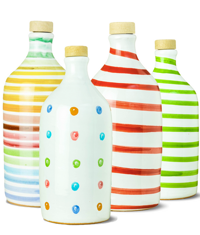 Frantoio Muraglia. Handmade Ceramic Bottle. The Orci Collection: Rainbow / Polka-Dot / Red / Green. First Cold Pressed Extraction