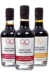 QO Flavored Balsamic Vinegar of Modena Gift Set | Raspberry /Citrus /Hot Chili