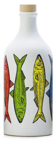 NEW ! Antico Frantoio Muraglia, EVOO, POP ART Collection, SARDINES, Handmade Ceramic Pottery Bottle
