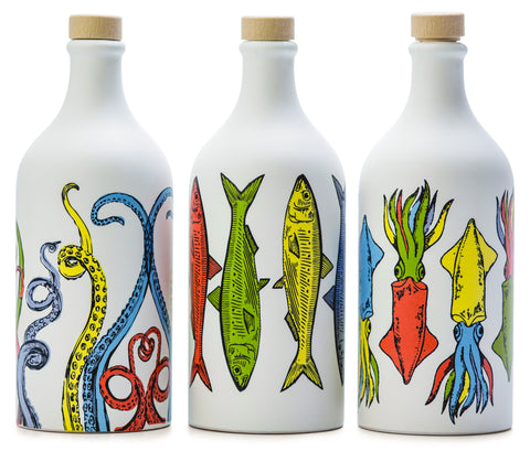 Muraglia EVOO, POP ART Collection | Tentacles Sardines & Cuttlefish, Italian Ceramics