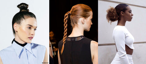 Three girls with top knot or tight braid