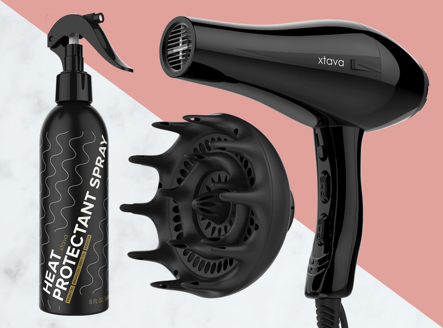 Xtava Products: Pro Hair Dryer, Black Orchid Diffuser and Heat Protectant Spray