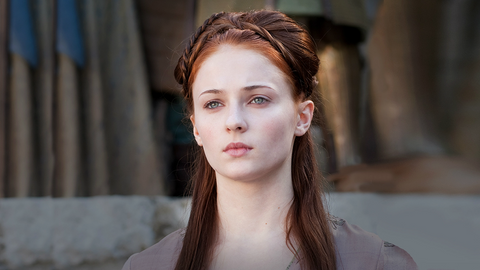 Sansa with ornate updo hairstyle with braids