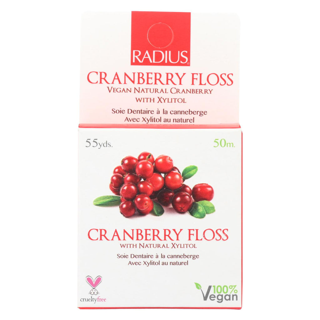 Radius Vegan Cranberry Floss - 55 Yards - Case Of 6