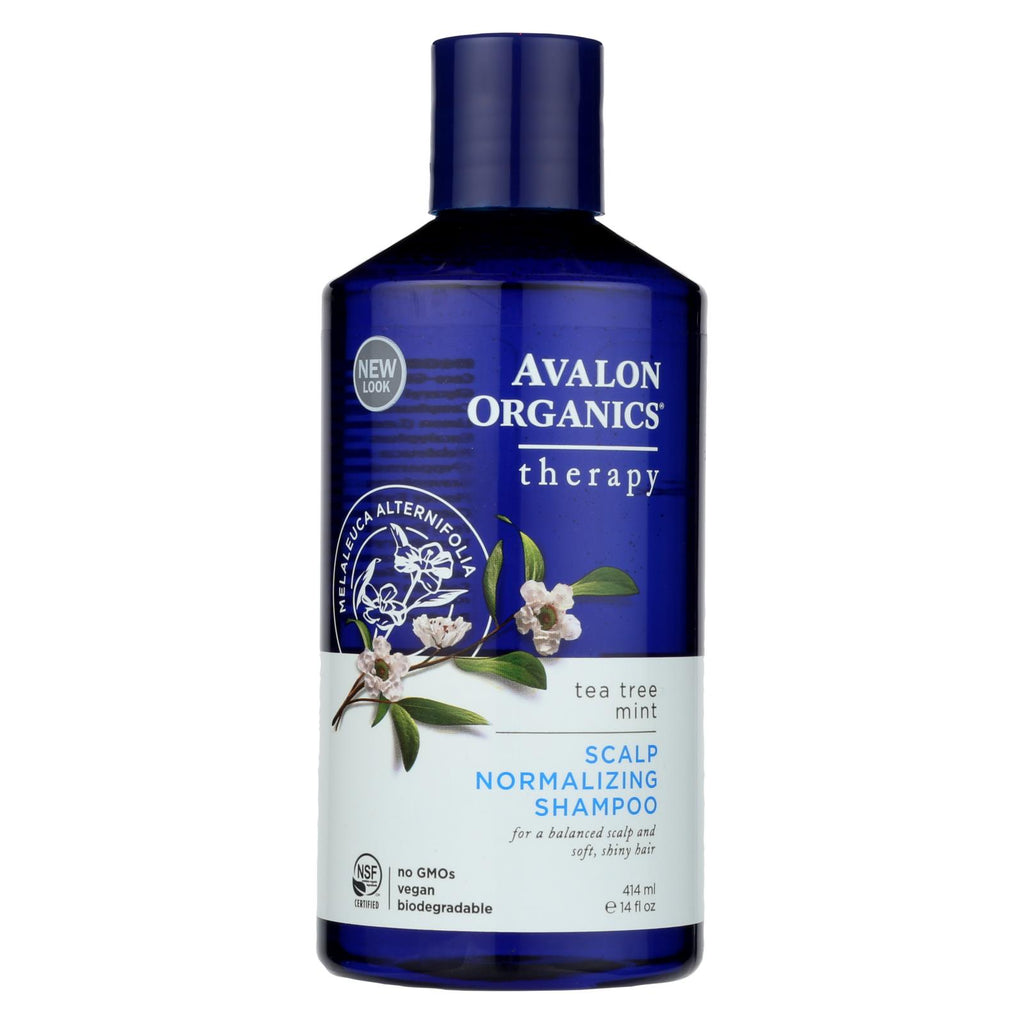 Avalon Organics Scalp Normalizing Shampoo Tea Tree Mint Therapy - 14 Fl Oz - Organicotc.com