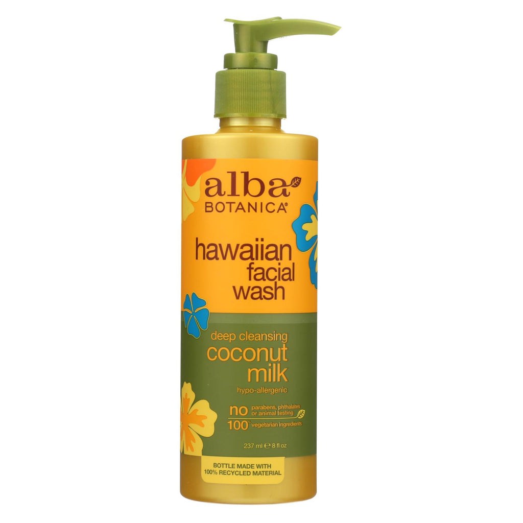 Alba Botanica Hawaiian Facial Wash Coconut Milk - 8 Fl Oz - Organicotc.com