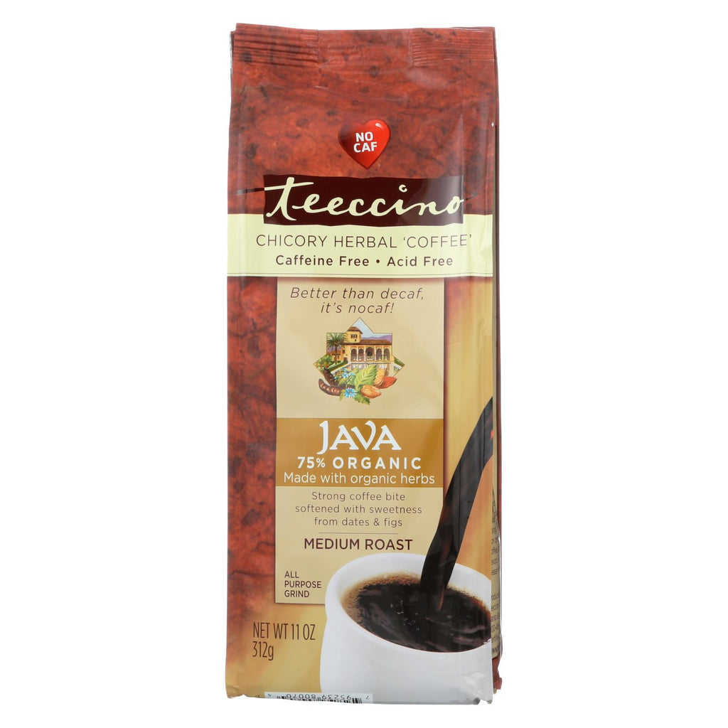 Teeccino Mediterranean Herbal Coffee - Java - Medium Roast - Caffeine Free - 11 Oz