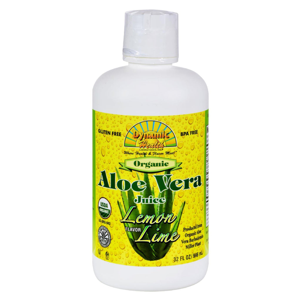 Dynamic Health Organic Aloe Vera Juice Lemon Lime - 32 Fl Oz - Organicotc.com