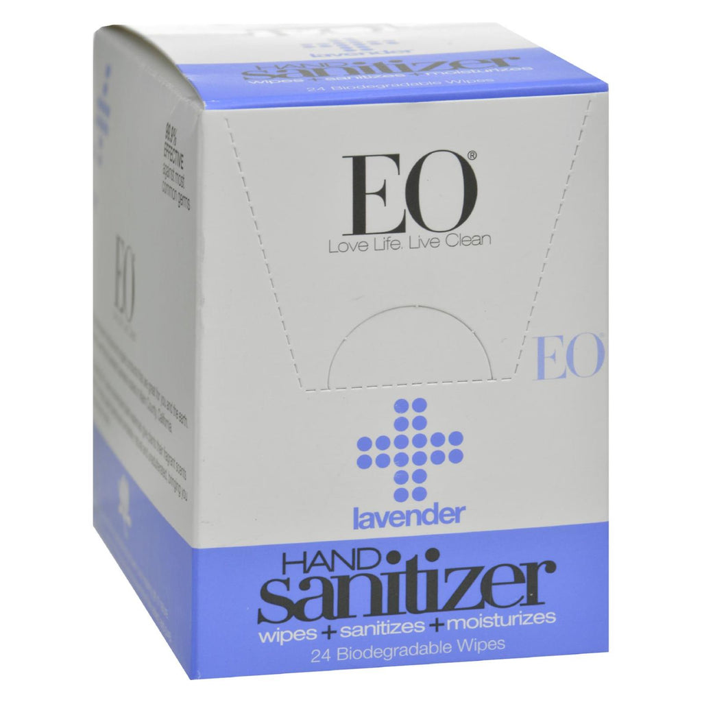Eo Products Hand Sanitizer Wipes - Lavender - Case Of 24 - Organicotc.com
