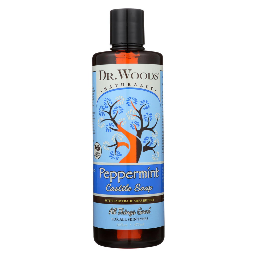Dr. Woods Shea Vision Pure Castile Soap Peppermint With Organic Shea Butter - 16 Fl Oz - Organicotc.com