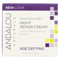 Andalou Naturals Resveratrol Q10 Night Repair Cream - 1.7 Fl Oz - Organicotc.com
