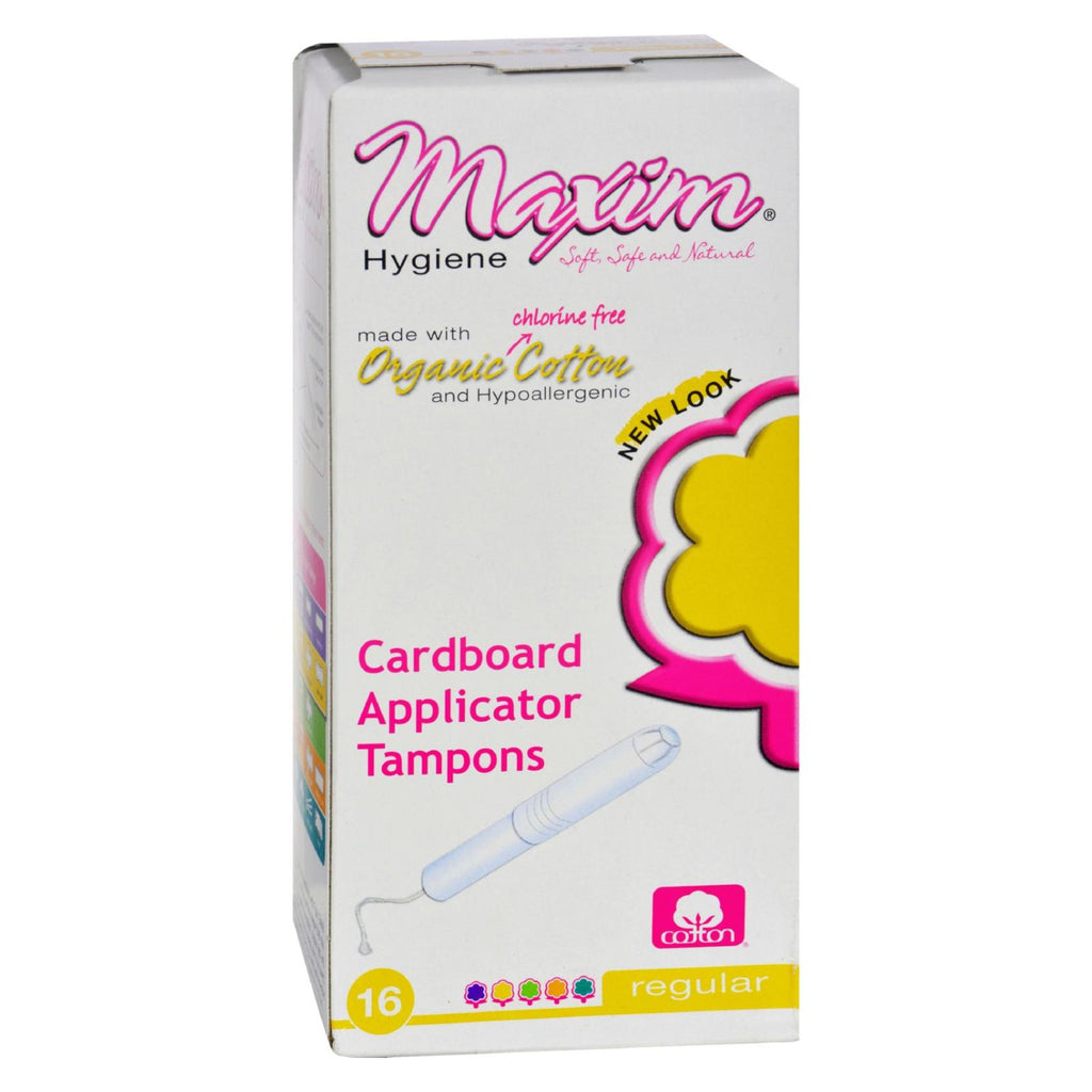 Maxim Hygiene Organic Cotton Cardboard Applicator Tampons Regular - 16 Tampons