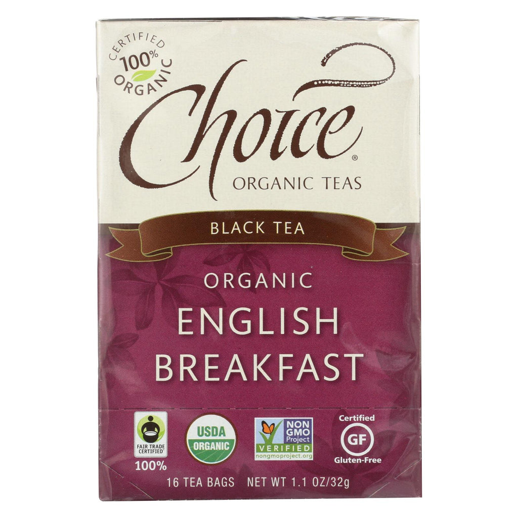 Choice Organic Teas English Breakfast Tea - 16 Tea Bags - Case Of 6 - Organicotc.com