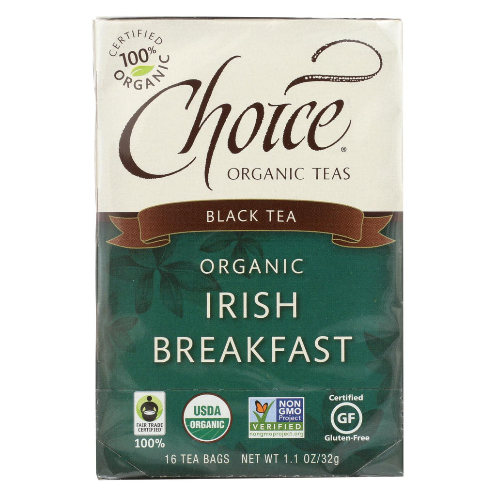 Choice Organic Teas Irish Breakfast Tea - 16 Tea Bags - Case Of 6 - Organicotc.com