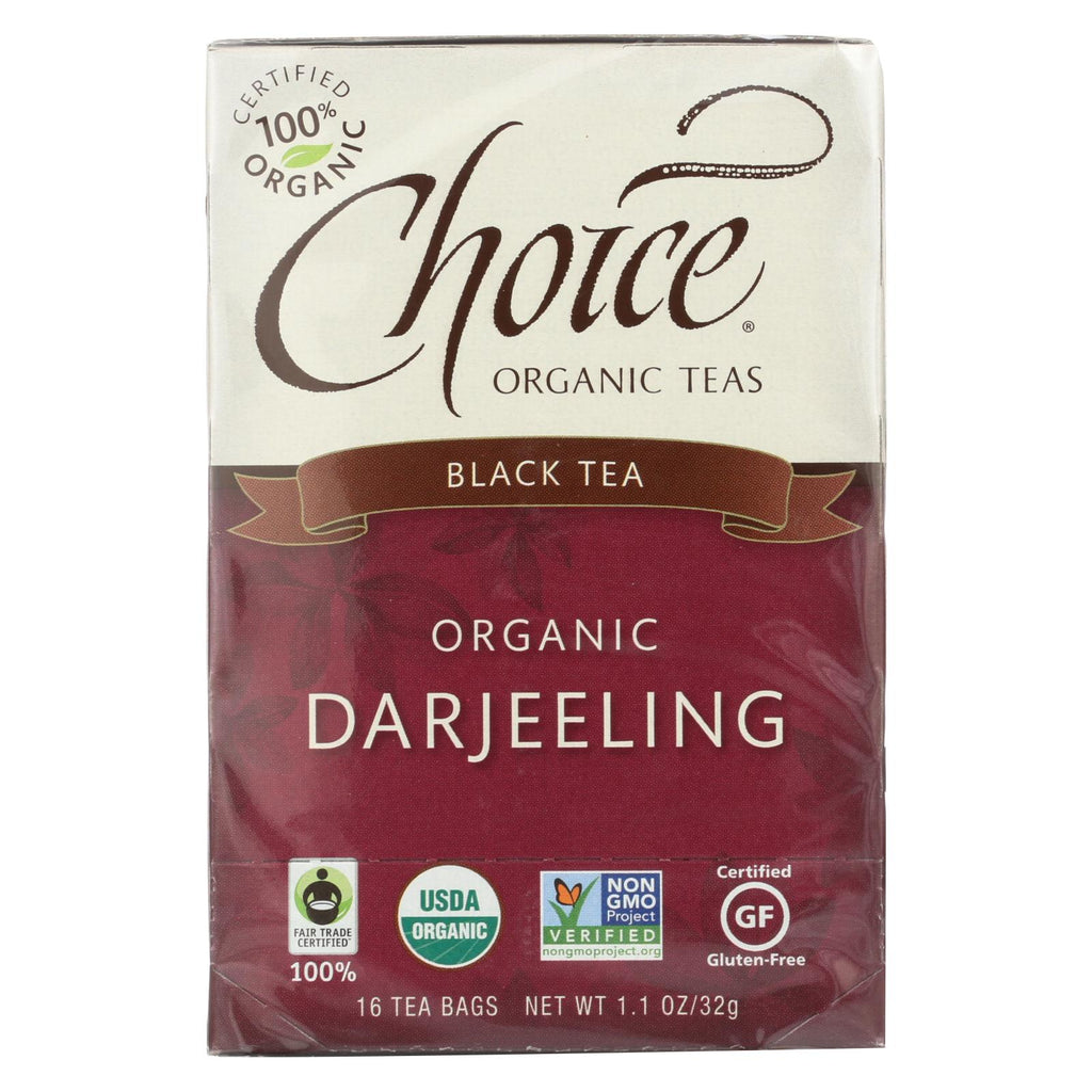 Choice Organic Teas Darjeeling Tea - 16 Tea Bags - Case Of 6 - Organicotc.com