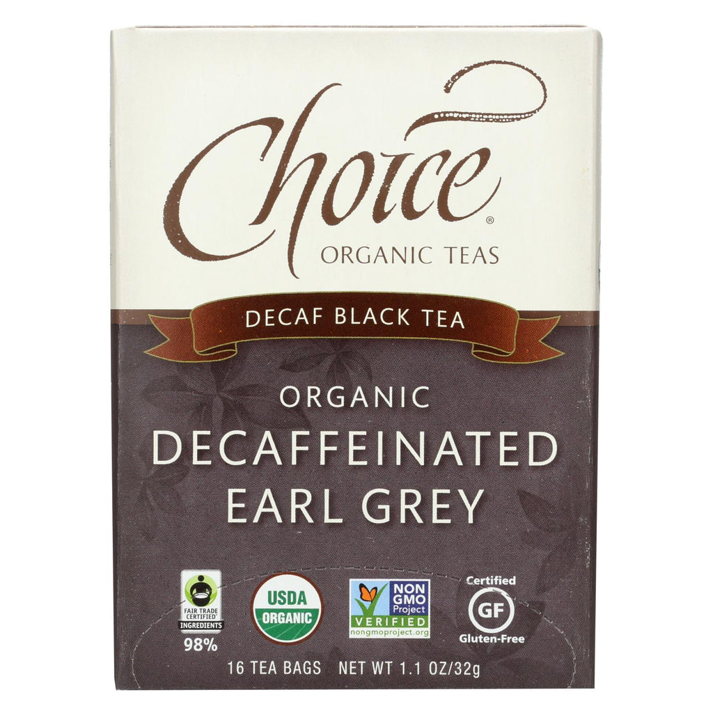 Choice Organic Teas Decaffeinated Earl Grey Tea - 16 Tea Bags - Case Of 6 - Organicotc.com