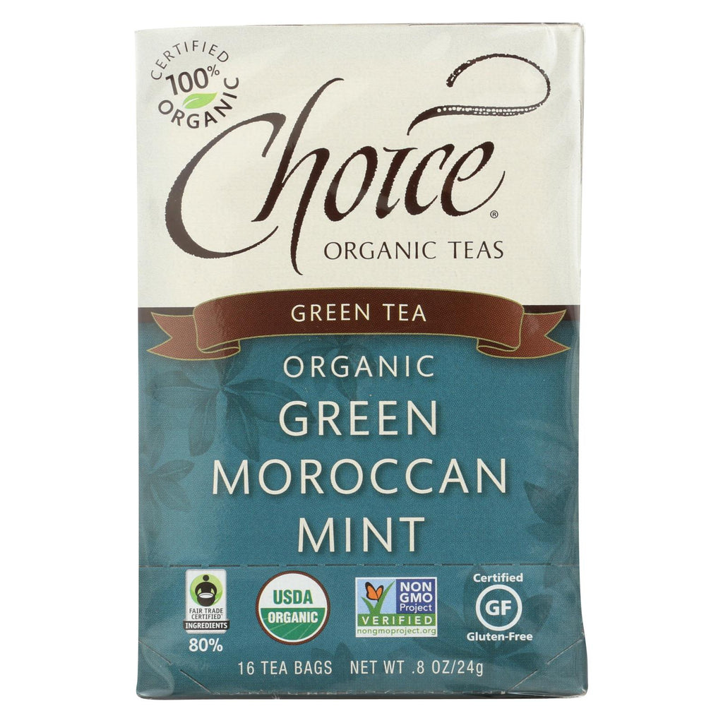 Choice Organic Teas Green Moroccan Mint Tea - 16 Tea Bags - Case Of 6 - Organicotc.com