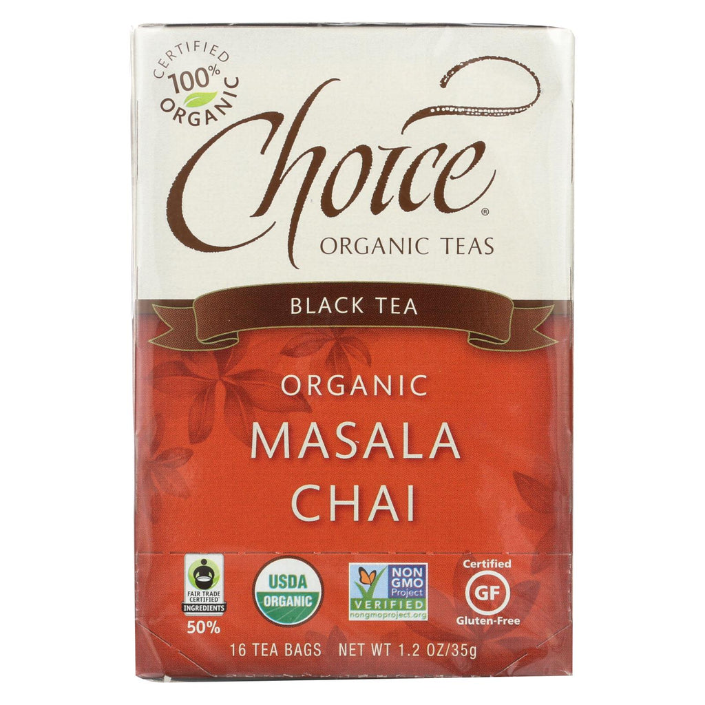 Choice Organic Teas Black Tea Masala Chai - Case Of 6 - 16 Bags - Organicotc.com