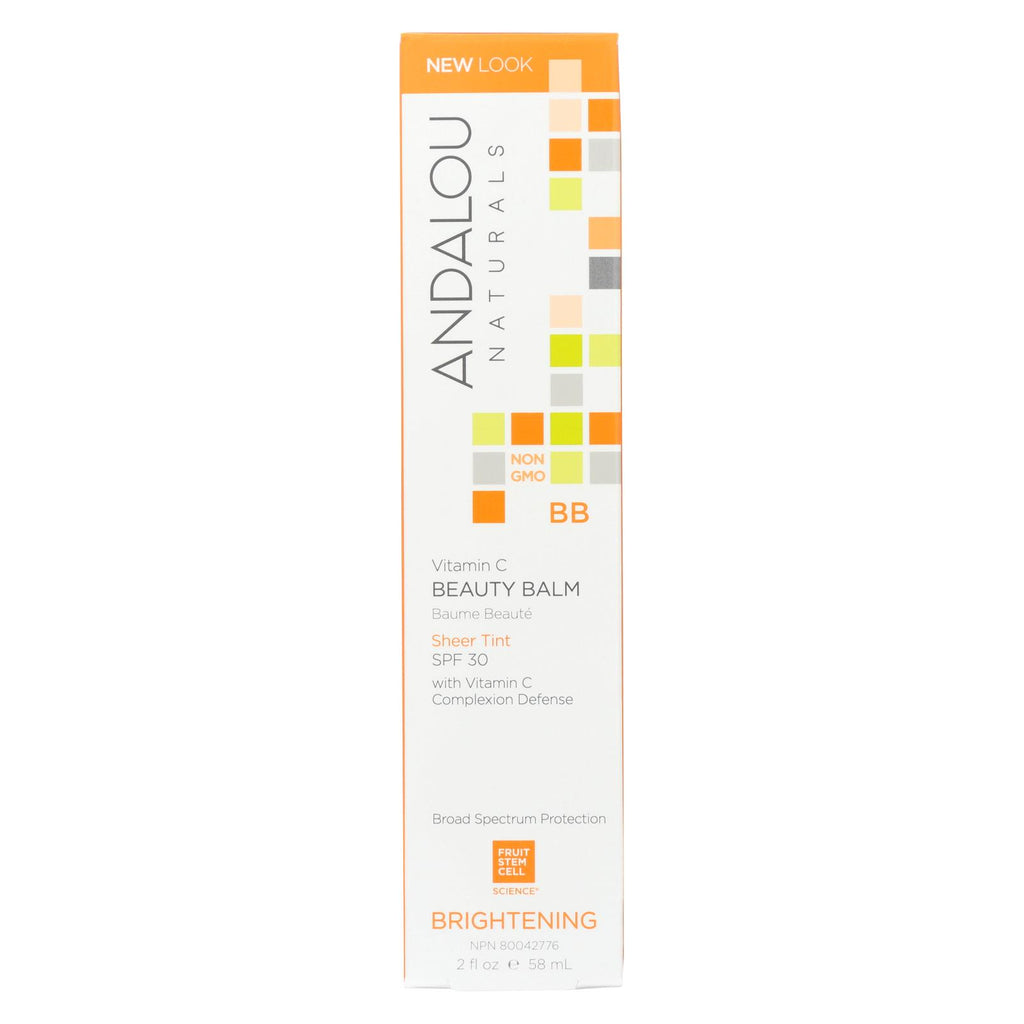 Andalou Naturals Beauty Balm Sheer Tint With Spf 30 Brightening - 2 Oz - Organicotc.com