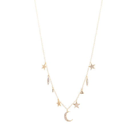 Three Layer Pave Star Necklace