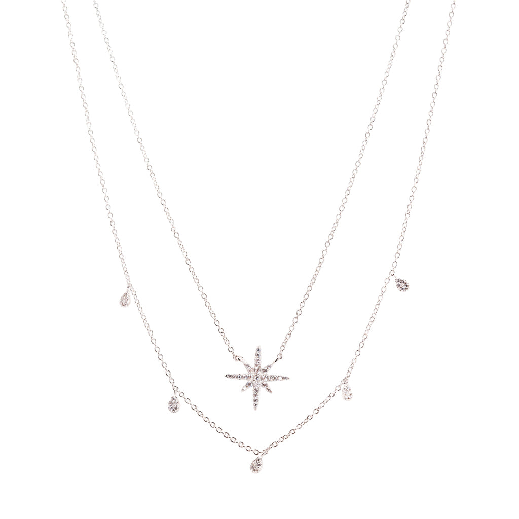 Double Row Star Drop Necklace