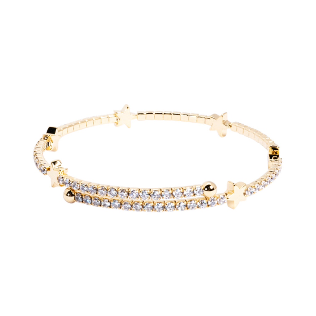 Round Stone with Stars Flex Coil Yellow Gold Bracelet