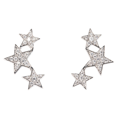 Star Post and Linear Drop Earrings