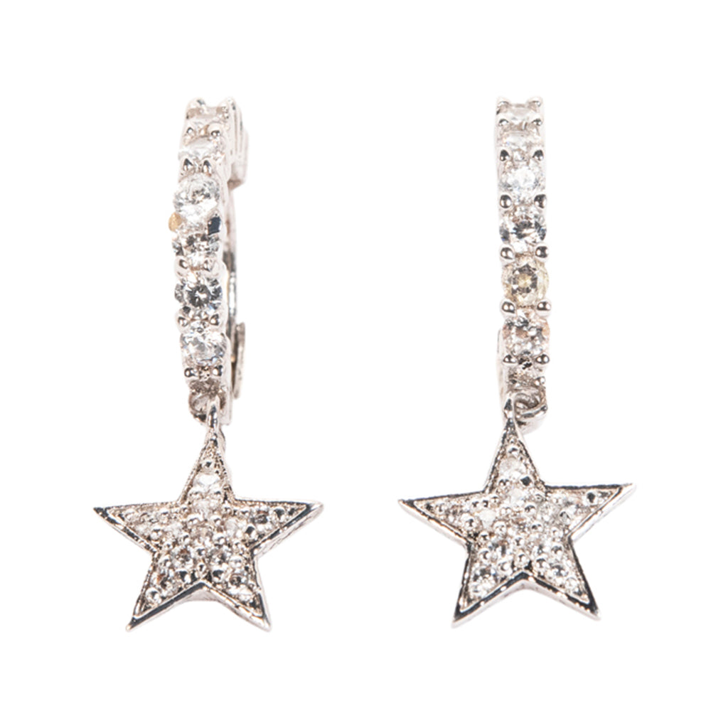 Pave Huggies with Star Drop Earrings