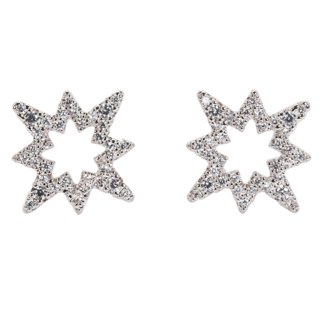 Open Pave 8 Point Star Earrings
