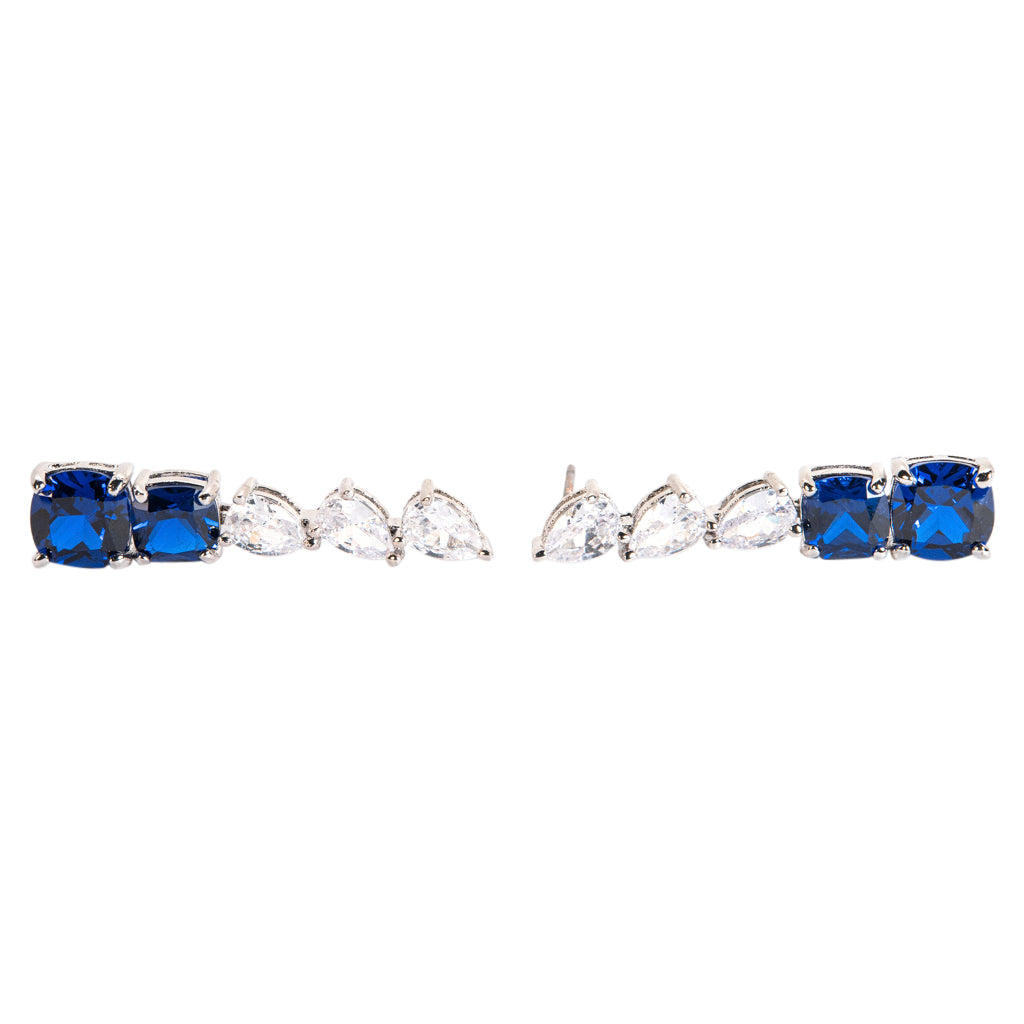 Sapphire Graduated Linear Drop Earrings