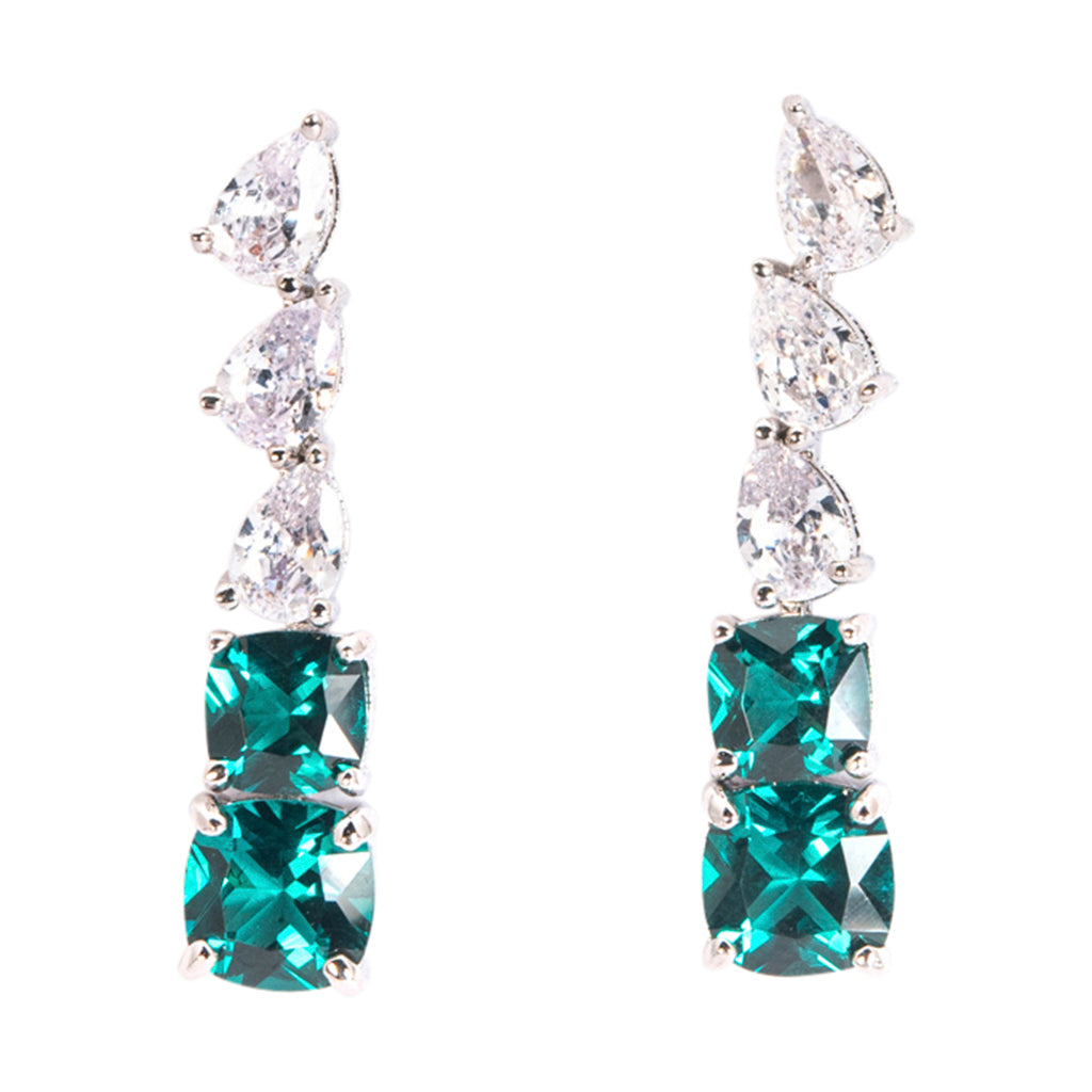 Emerald Graduated Linear Drop Earrings
