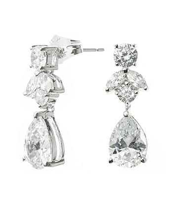 Marquise and Round Drop Earrings