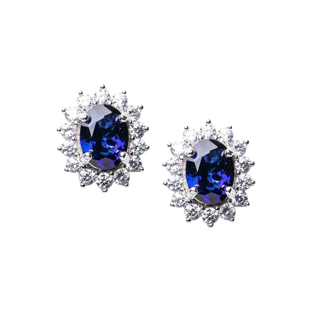Sapphire Oval Halo Pierced Earrings