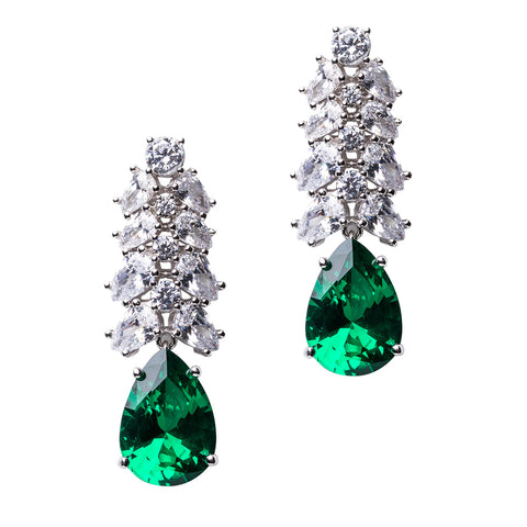 Vivid Emerald 5 Pear Chandelier Earrings