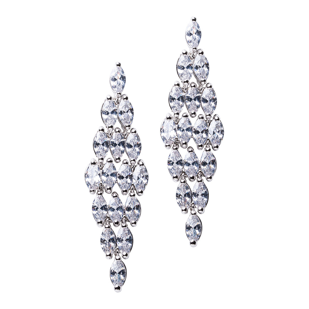 Marquise Cluster Chandelier Earrings
