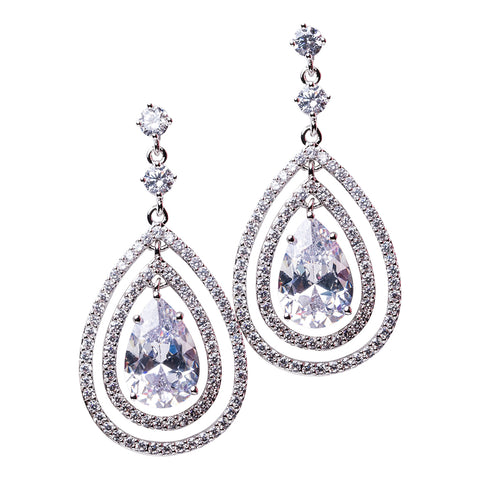 Round Drop Pave Halo Earrings