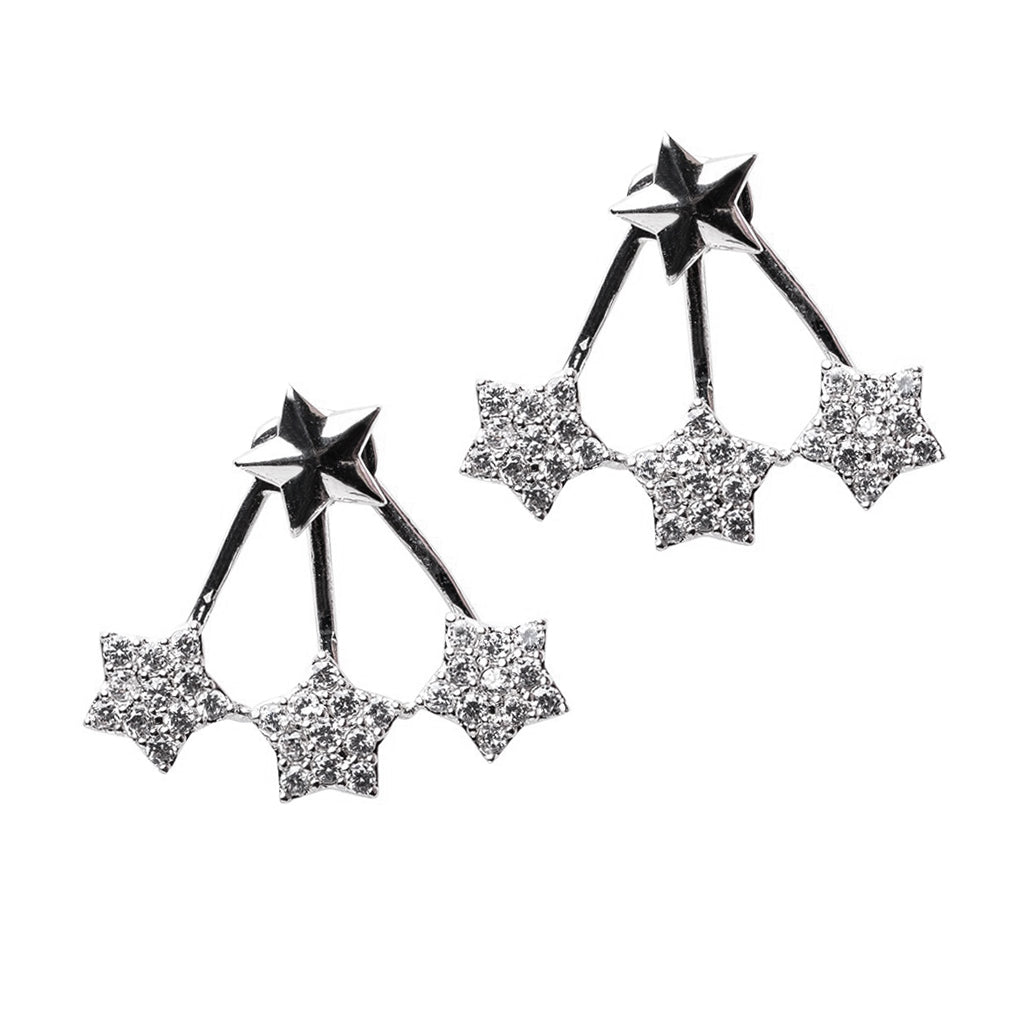 Triple Star Front to Back Earrings