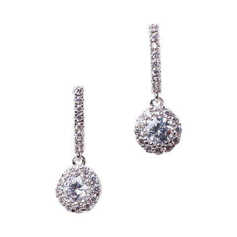 Double Halo Pear Earrings
