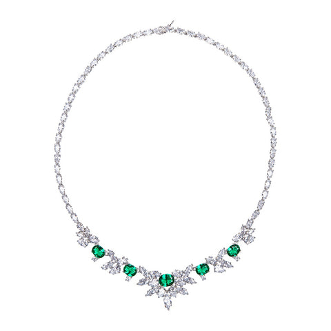 Emerald and Round Lariat Necklace