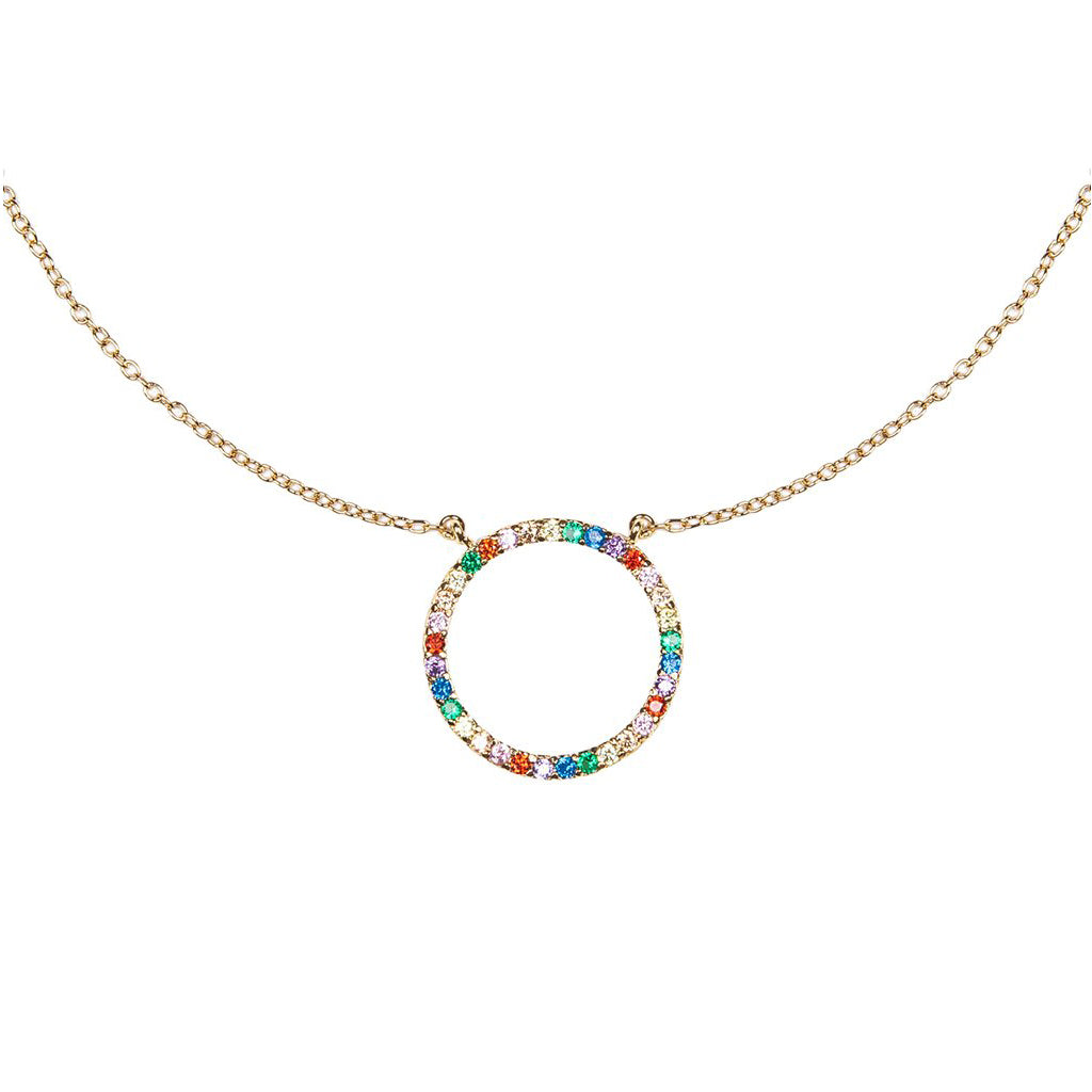 Pave Rainbow Circle Necklace