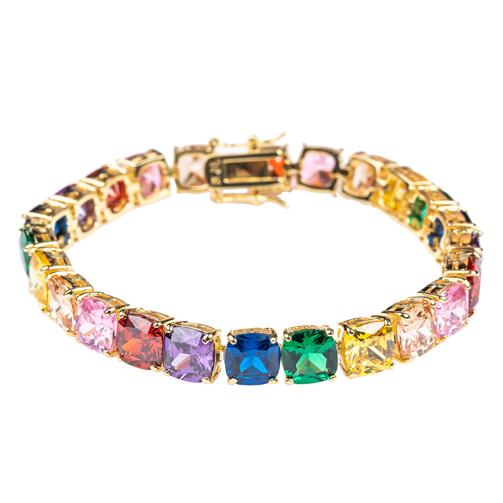 Martha Stewart Weddings - Multi Colored Cushion Cut Tennis Bracelet