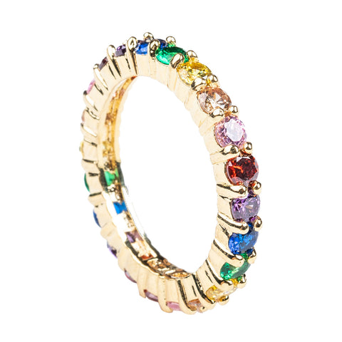 Channel Set Rainbow Baguette Ring