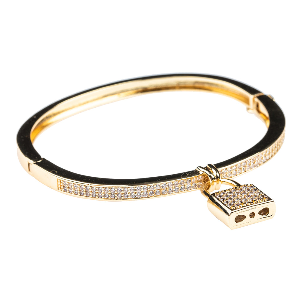 Gold Pave Padlock Bangle