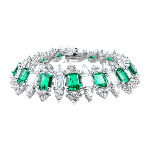 6 Row Emerald and CZ Bracelet